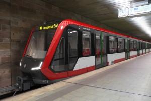 U-Bahn Nürnberg: vierteiliger U-Bahn-Zug Typ G1 (Siemens) für fahrerlosen Betrieb