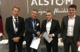 Von links: Jean-Francois Seytre (Sourcing Domain Director Alstom), Olivier Baril (CPO Alstom), Michael Thiel (CEO Frauscher), Gerhard Grundnig (Sales Director Frauscher)Foto: Frauscher