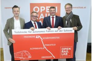 von links: Roman Hebenstreit, Hans Niessl, Jörg Leichtfried, Thomas ScheiberRechte: bmvit / Johannes Zinner