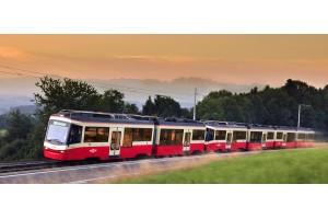 Künftig werden 13 Schmalspurzüge des Typs Be 4/6 mit Traktionsstromrichtern von Voith bei der Forchbahn AG in der Schweiz unterwegs sein.Foto: Voith Digital Solutions Austria GmbH & Co KG