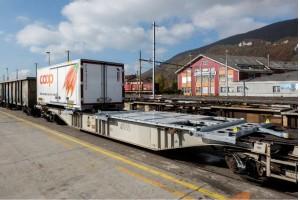 Ein mit einem rCE-Powerpack® versehener Container-Tragwagen der railCare: Im Waggon-Adapter-Rahmen ist ein komplettes Energieversorgungssystem verbaut. (Bildquelle: railCare AG)