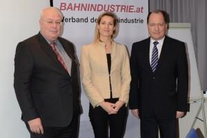 Dr. Wolfgang Röss (Verbandspräsident), Dr. Valerie Hackl (Leiterin der ÖBB-Strategieabteilung), Ing. Ronald Chodász (Verbands-Geschäftsführer)Foto: BAHNINDUSTRIE.at